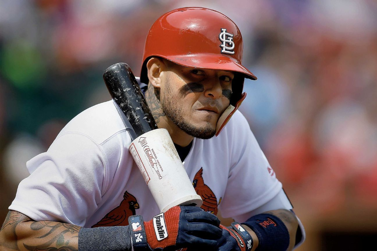 Yadier Molina of St  Louis Cardinals takes exception to