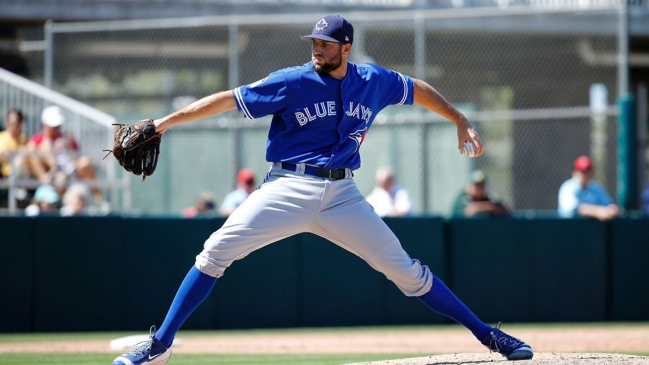 Jays' Mayza (left elbow) exits after errant pitch