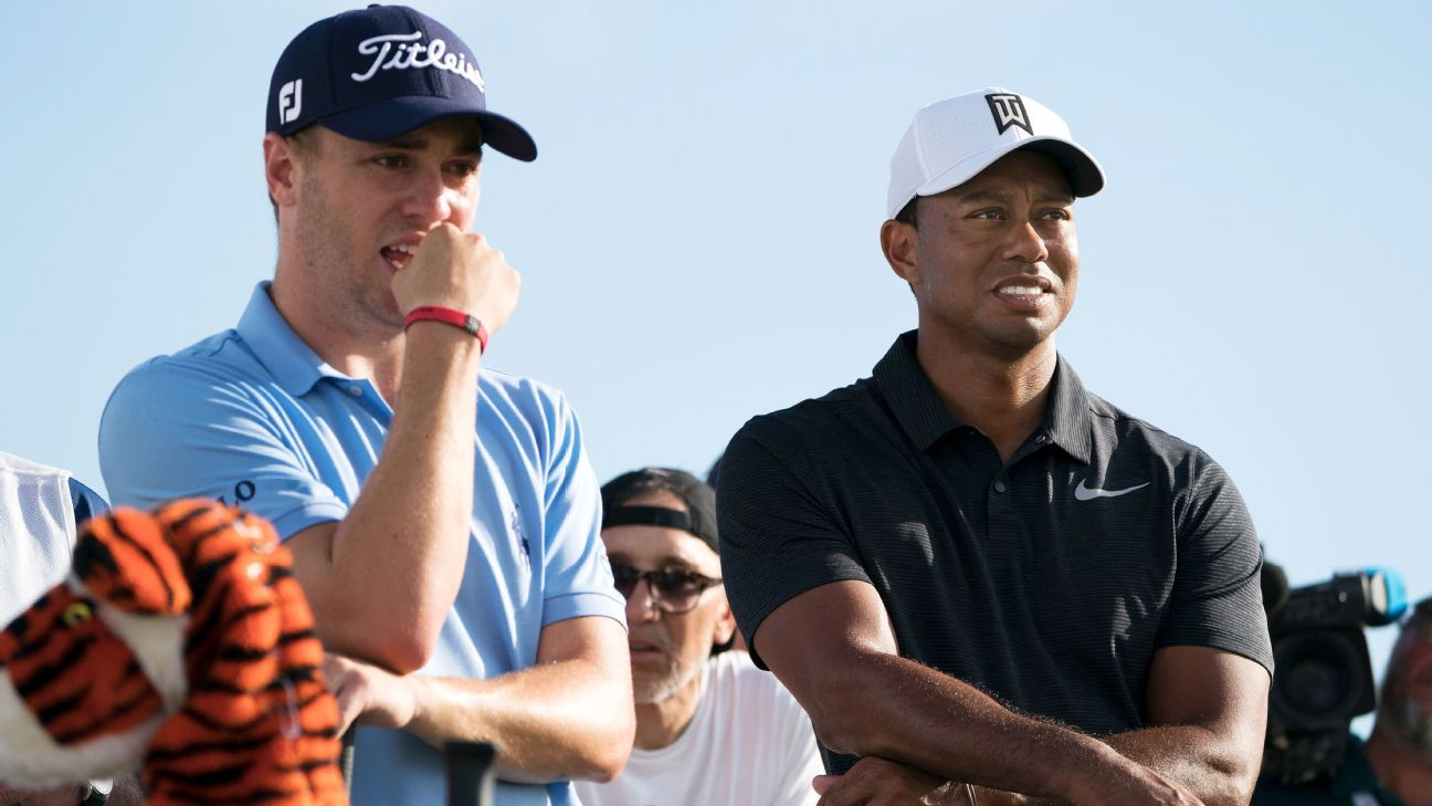 Tiger Woods outdrives Justin Thomas and lets him know about it