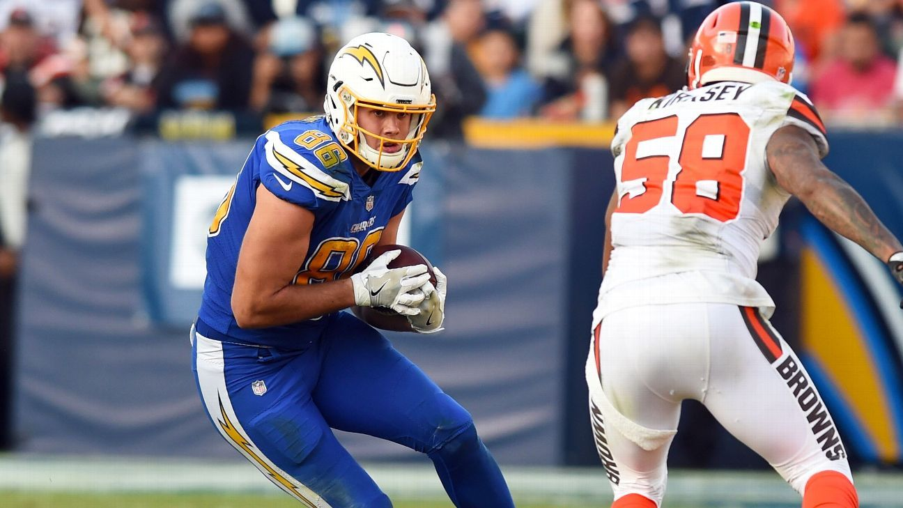 Chargers tight end Hunter Henry was not activated by Saturday's deadline, so he will not play in Sunday's wild-card game against the Ravens.