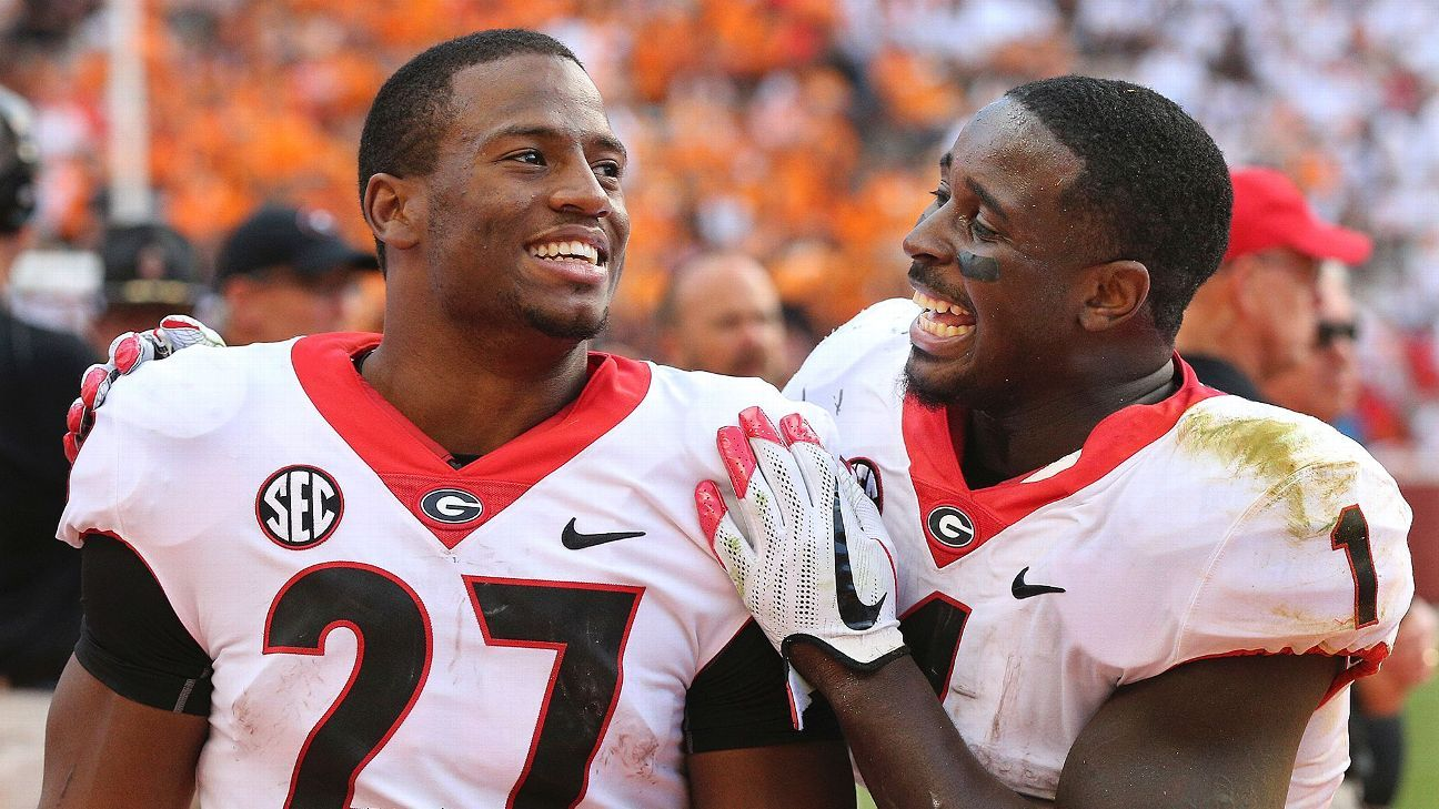 promo code 633b9 00802 Nick Chubb, Sony Michel feed off each other to make history ...