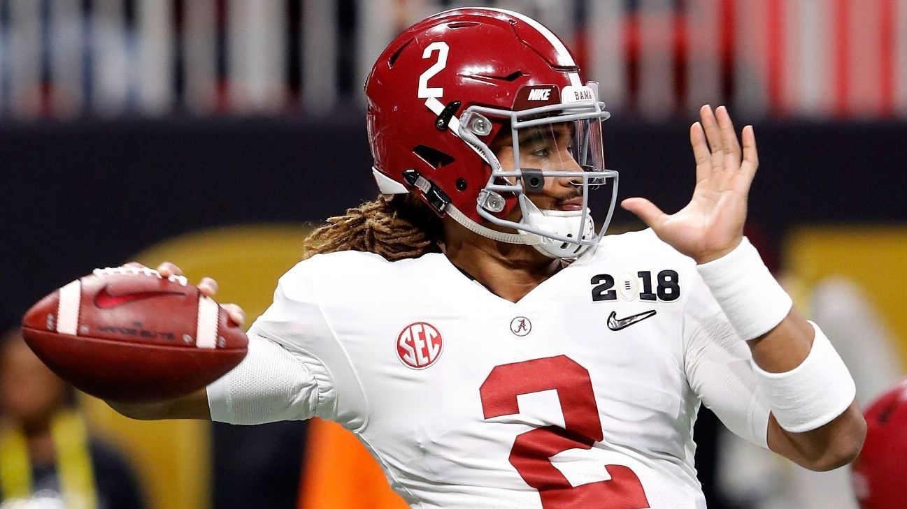 003a8e6f1 Alabama QB Jalen Hurts wears Auburn s colors to honor Iron Bowl bet with Charles  Barkley