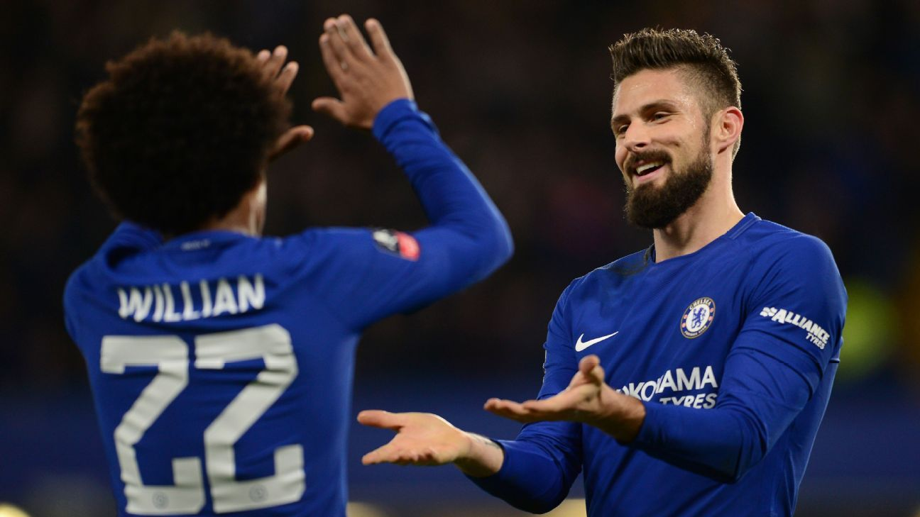 Chelsea cruise as Willian, Giroud star ahead of Barca test