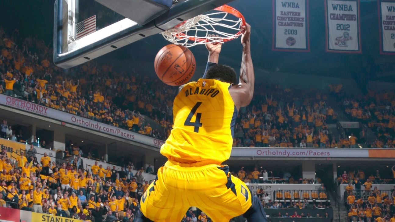 Oladipo dunks on James, Pacers blow Cavs out in Game 6