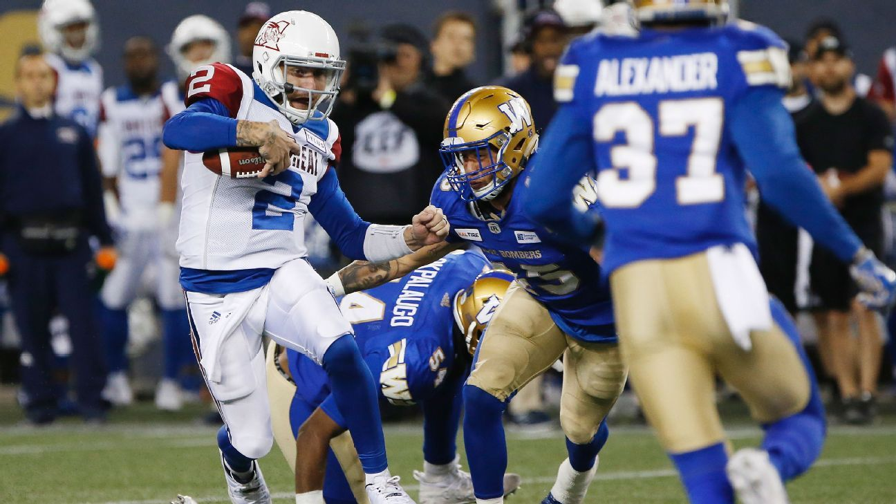 bf3e05af48a Johnny Manziel of Montreal Alouettes has 212 yards, interception in loss to  Winnipeg Blue Bombers