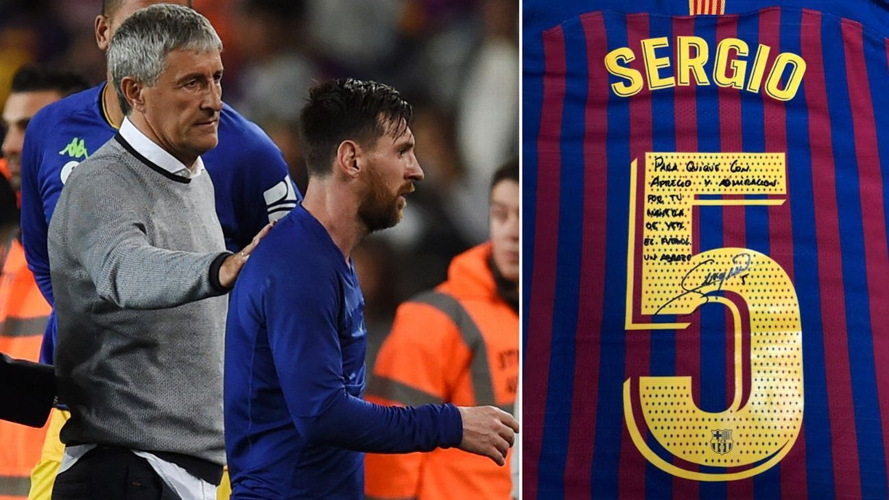 d6addc735e4 Barcelona s Sergio Busquets gives signed shirt to Betis coach Quique ...