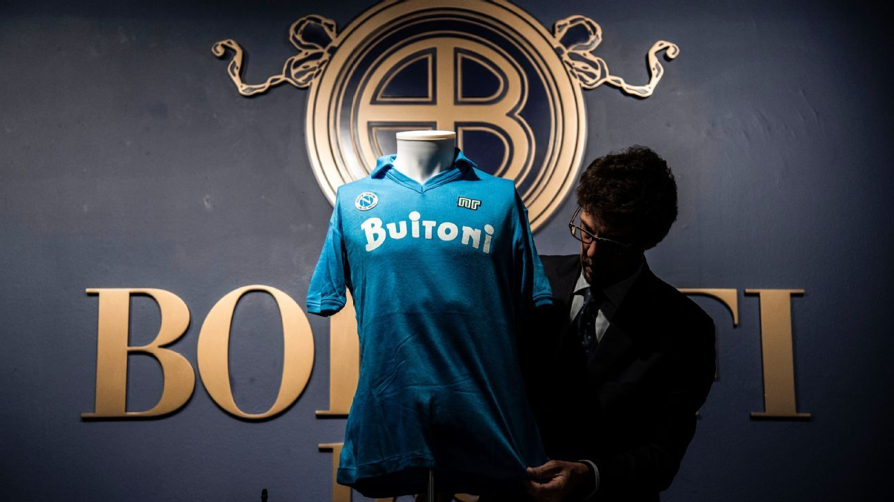 cf945551a Diego Maradona s 1987 Napoli shirt up for auction alongside classic  memorabilia