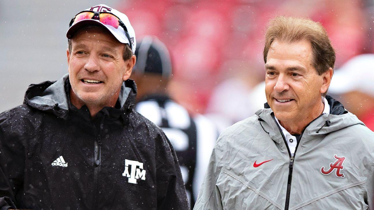 Texas A&M Aggies football coach Jimbo Fisher says 'don't worry,' team will beat Alabama Crimson Tide and coach Nick Saban