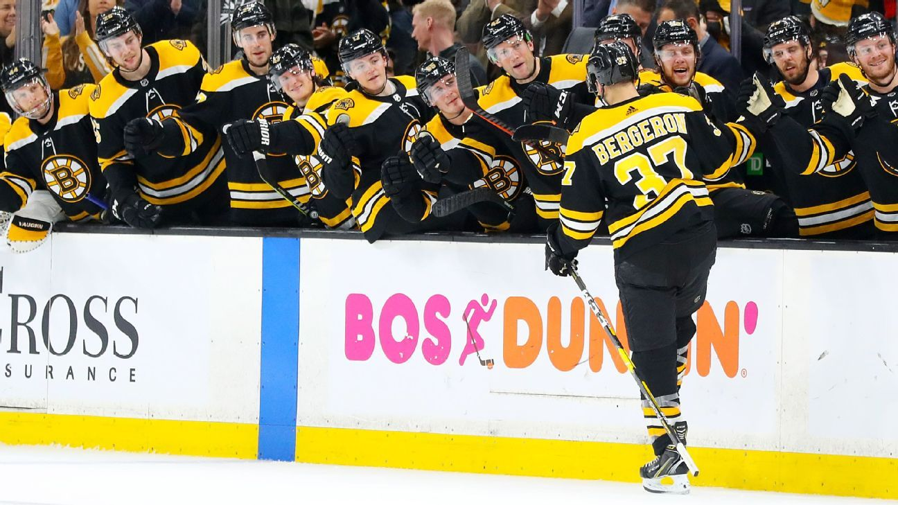 a98f85d5f90 Patrice Bergeron of Boston Bruins scores twice in return, including No. 300