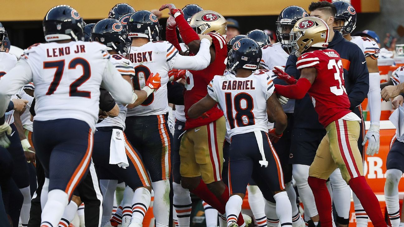 A late hit to the head of Bears quarterback Mitchell Trubisky in the waning minutes of Sunday's game against the 49ers sparked a brawl that led to the ejection of three players, including Niners cornerback Richard Sherman.