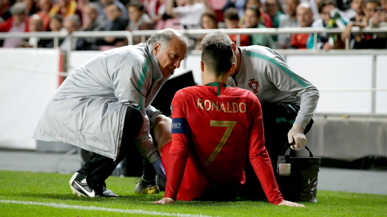 Ronaldo exits after leg injury in Portugal's Euro qualifier vs. Serbia - ESPN