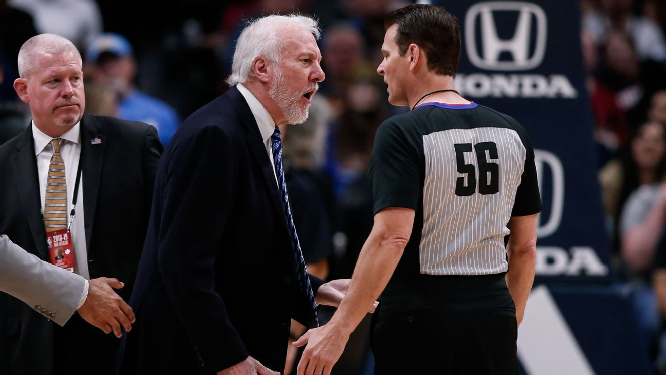 Popovich ejected 63 seconds into Nuggets game