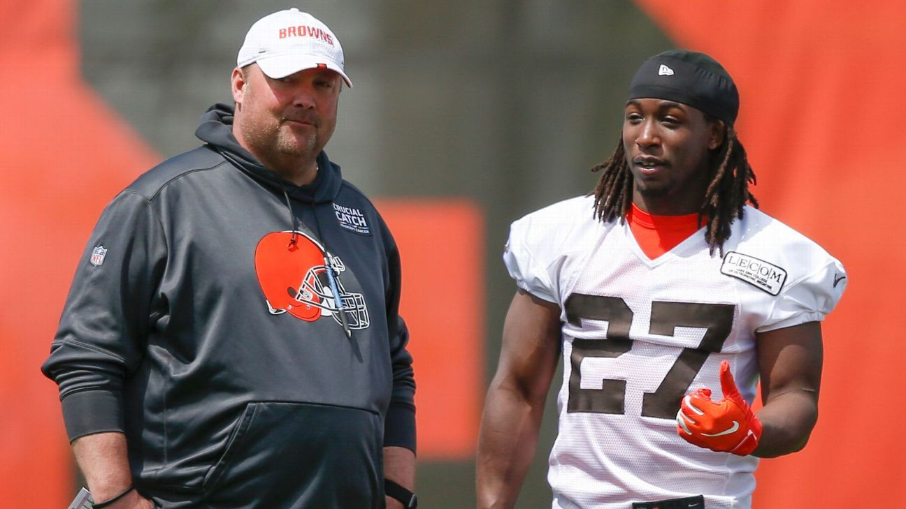 New Browns running back Kareem Hunt, who is suspended for the first eight games of the 2019 season, is happy to have an opportunity with Cleveland and says he