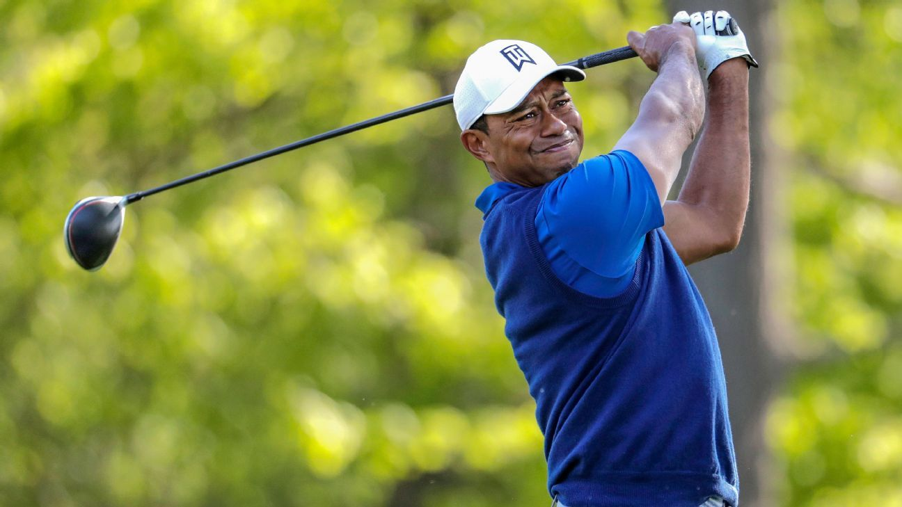 Tiger rides roller coaster to 72; Koepka cards 63