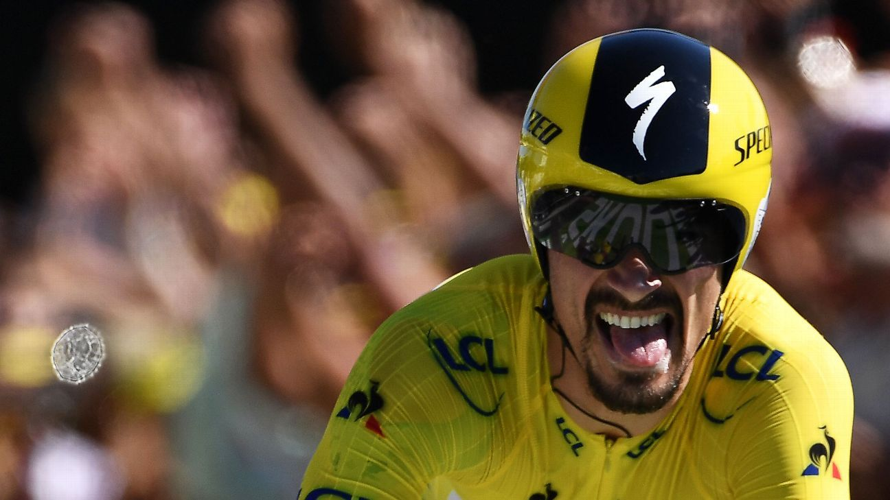 Tour de France: Alaphilippe beats Thomas in time trial to extend Tour lead
