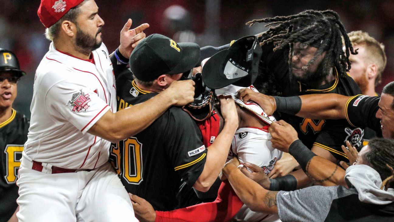 Reds-Pirates brawl results in 40 games of bans