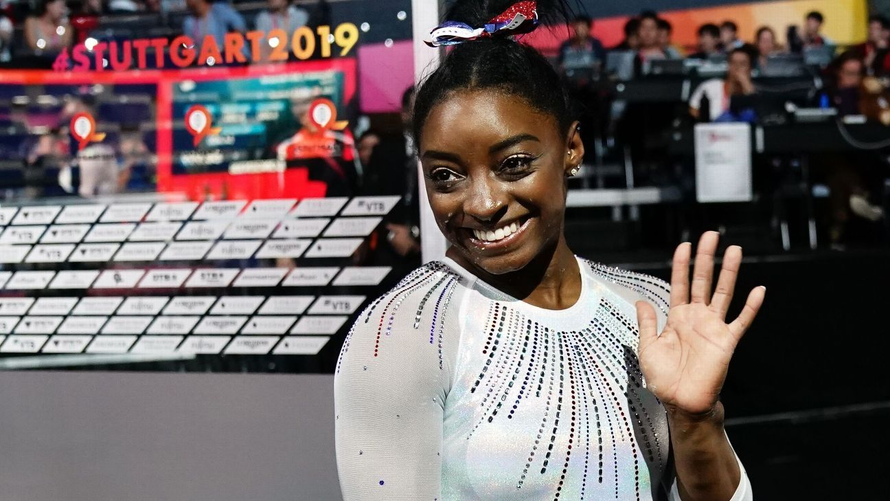 Simone Biles wins 5th all-around title at gymnastics world championships