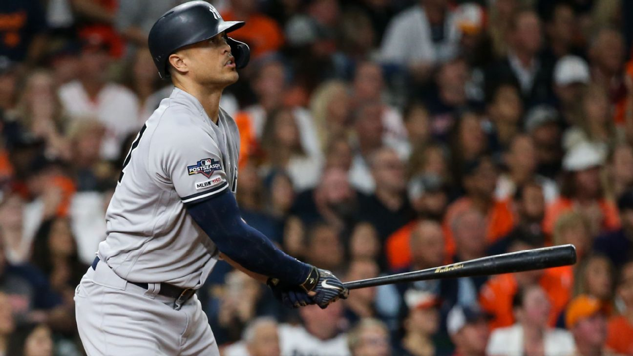 Giancarlo Stanton out of Yankees' Game 2 lineup with quad strain