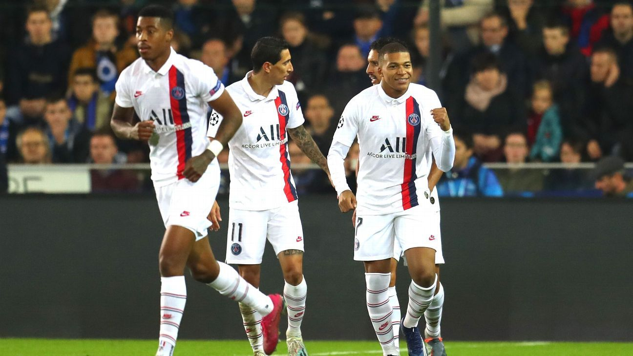 Kylian Mbappe has hat-trick for PSG in easy win over Club Brugge