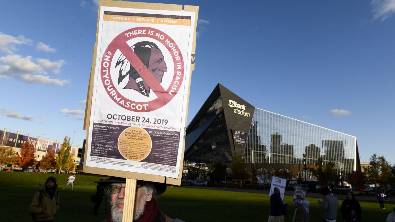 Protesters in Minneapolis say 'long past time' to change Redskins' team name