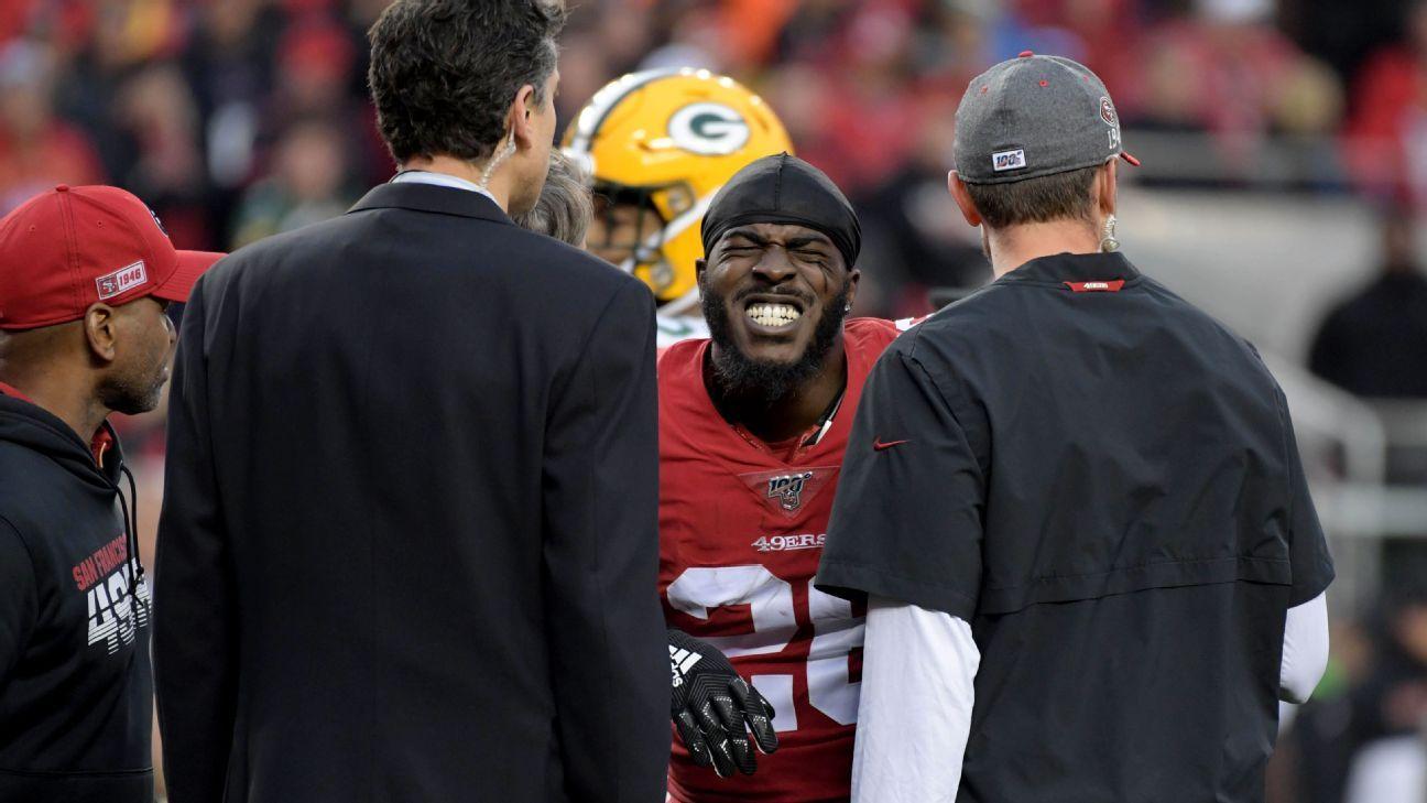 49ers running back Tevin Coleman carted off after injuring shoulder