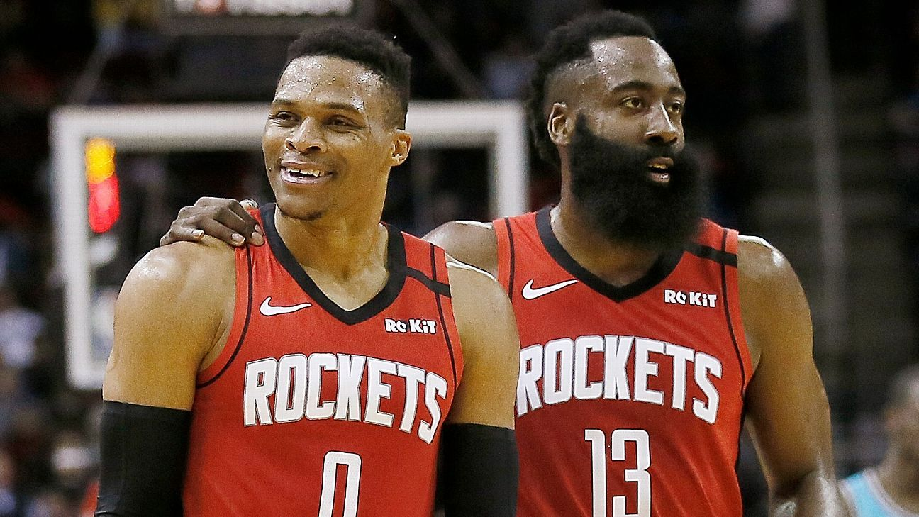 Sources: Russ, Harden not with Rockets on flight