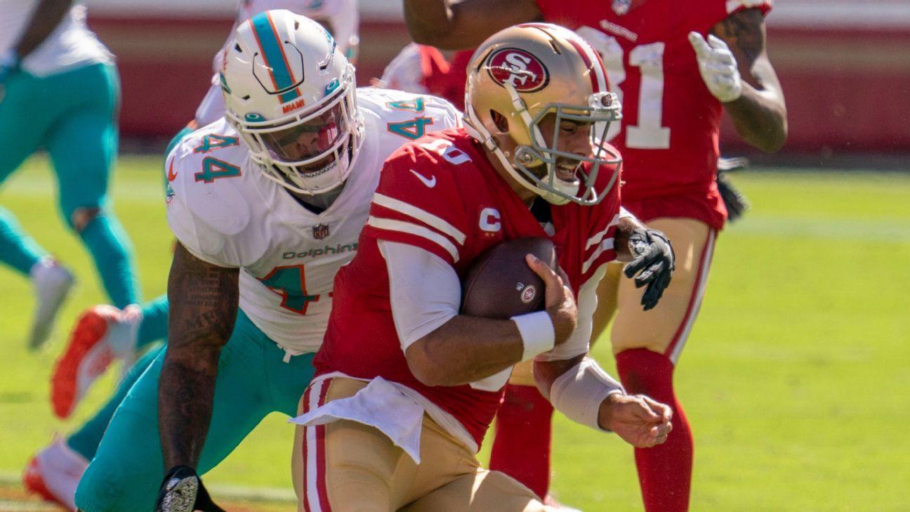 San Francisco 49ers bench struggling Jimmy Garoppolo for C.J. Beathard vs. Dolphins – ESPN