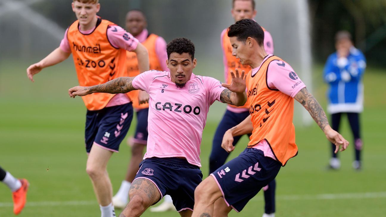 Everton tiene a James en ataque, pero recibirá a un gran visitante sin Doucouré y Allan