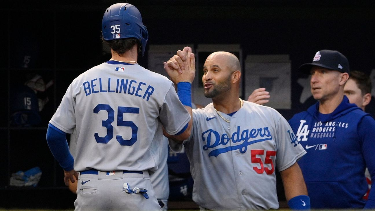 Los Angeles Dodgers' Albert Pujols goes on COVID-19 injured list; Cody Bellinger (rib) activated off IL