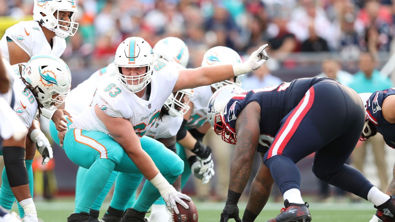 Miami Dolphins center Michael Deiter out Sunday with foot, quad injuries