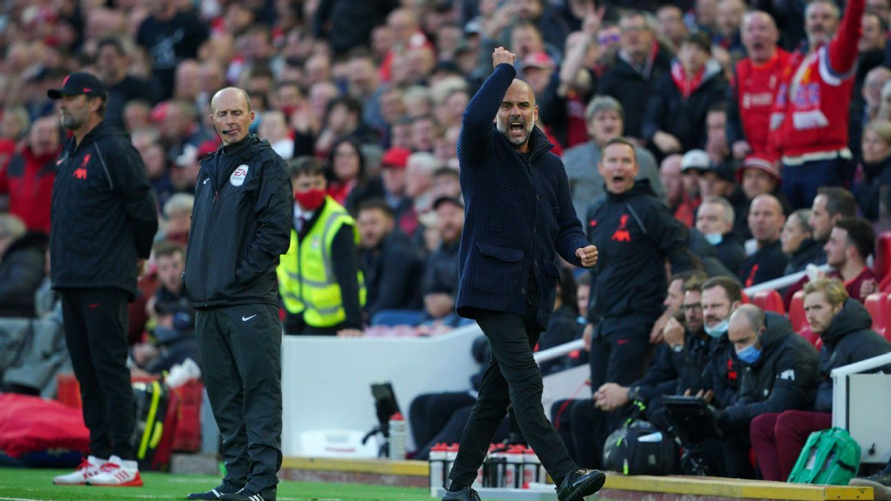 Manchester City's Pep Guardiola, coaching staff spat at during Liverpool clash - source