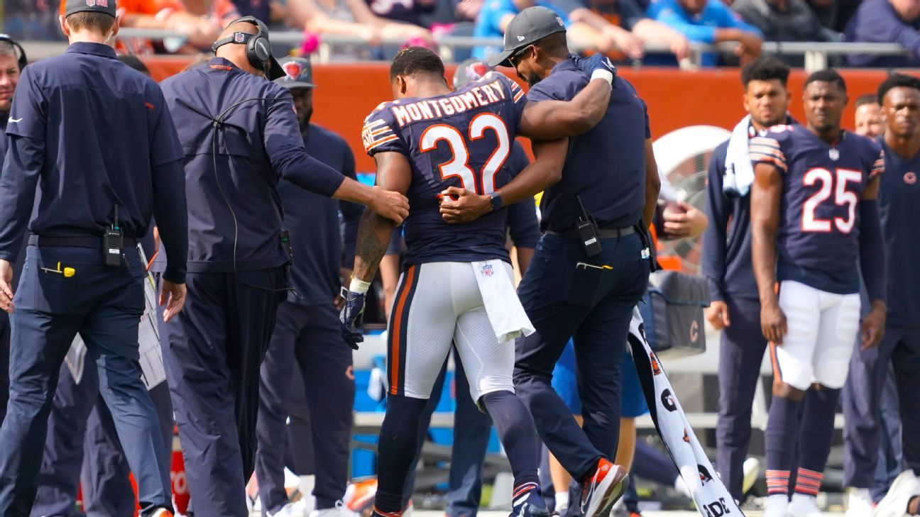 Bears RB Montgomery helped off with knee injury